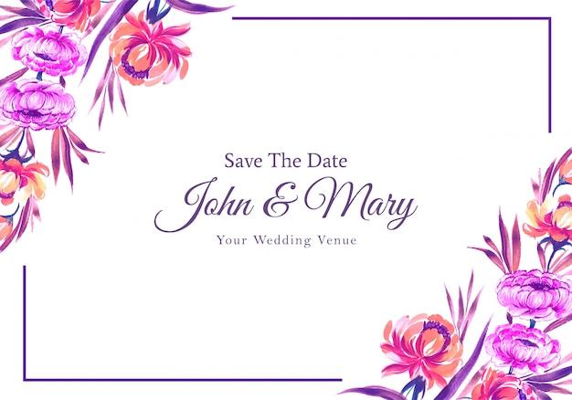 Cartão de quadro de flores coloridas de convite de casamento