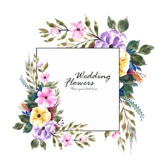 Cartão de quadro de flores de convite de casamento romântico