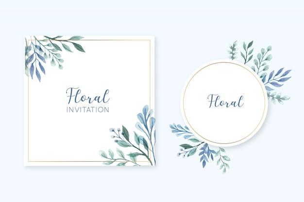 Cartão de quadro floral elegante conjunto com folhas de aquarela