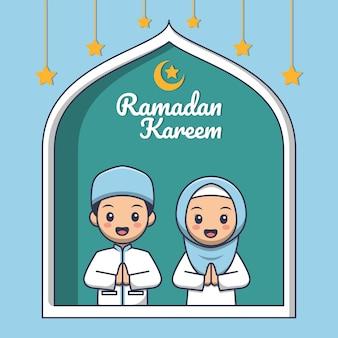 Cartão de ramadã com lindos desenhos animados de crianças muçulmanas