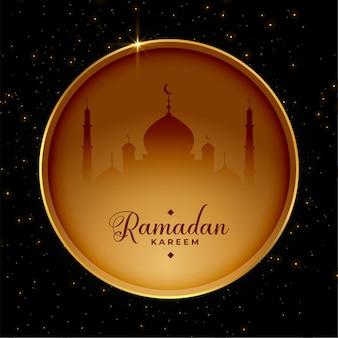 Cartão de ramadã em estilo de moldura de círculo dourado