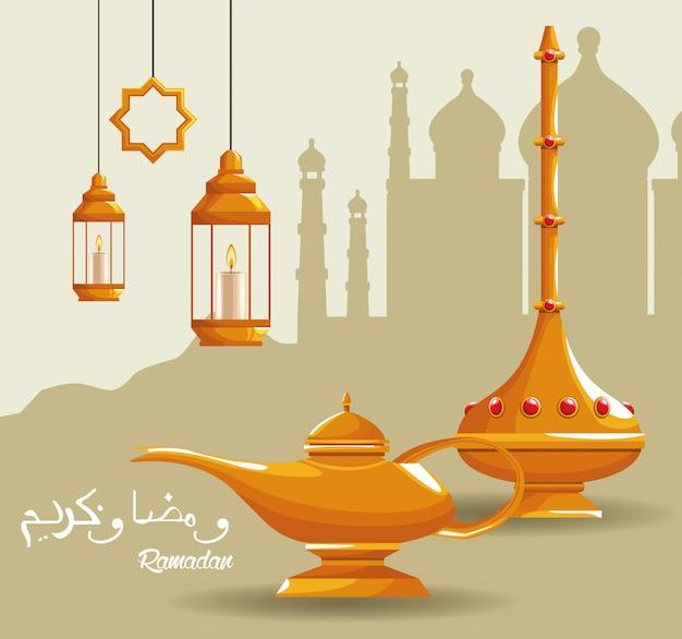 Cartão de ramadã kareem celebração com bule