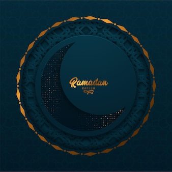 Cartão de ramadã kareem com caligrafia árabe moderna e lua crecente