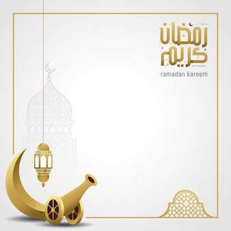 Cartão de ramadã kareem com caligrafia árabe