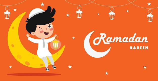 Cartão de ramadã kareem com criança sentada na lua crescente