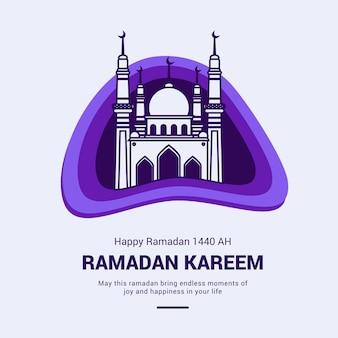 Cartão de ramadã kareem com ilustração de mesquita