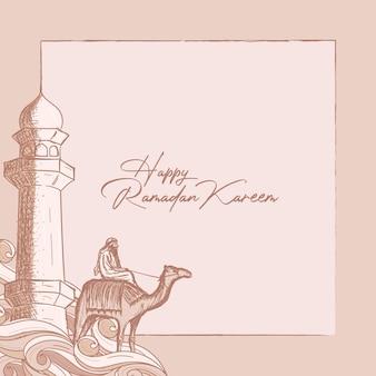 Cartão de ramadã kareem com ilustração desenhada à mão de mesquita e cavaleiro de camelo
