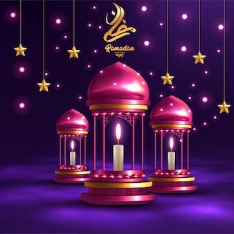 Cartão de ramadã kareem com lâmpadas vermelhas