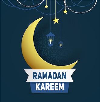 Cartão de ramadã kareem com lua crescente de papel dourado