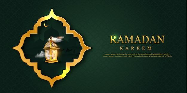 Cartão de ramadã kareem com moldura e lâmpada.