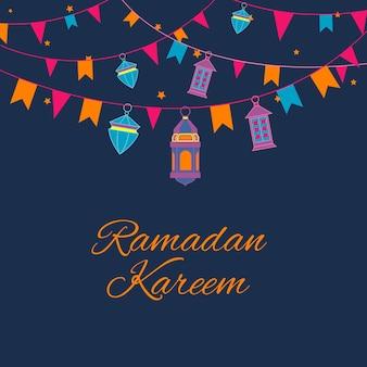 Cartão de ramadan kareem com guirlanda de lanternas e lâmpadas árabes.