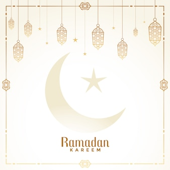 Cartão de ramadan kareem de lanternas islâmicas decorativas