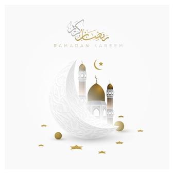 Cartão de ramadan kareem design de padrão floral islâmico com bela caligrafia árabe e lua