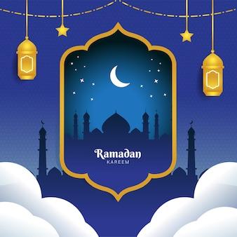 Cartão de ramadan kareem moldura de lanterna dourada