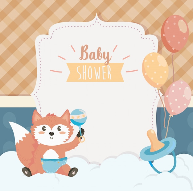 Cartão de raposa bonitinha com chocalho e chupeta