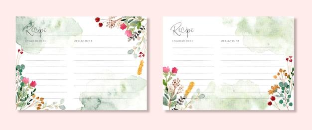 Cartão de receita com aquarela rústica de jardim floral