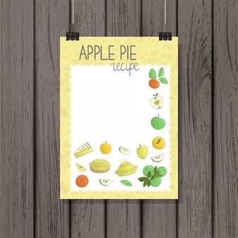 Cartão de receita torta de maçã no estilo doodle. ilustração vetorial de frutas