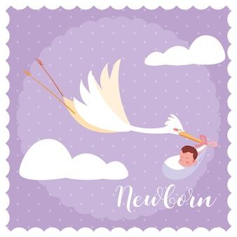 Cartão de recém-nascido com cegonha voando e saco de bebê