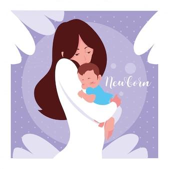 Cartão de recém-nascido com mãe e filho pequeno bonito
