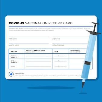 Cartão de registro de vacina de coronavírus plano