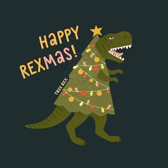 Cartão de rex da árvore de natal do tiranossauro. dinossauro com luzes de guirlanda de árvore de natal.