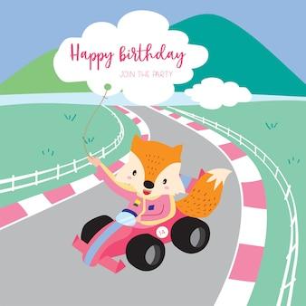 Cartão-de-rosa verde com raposa drives cartão de corrida