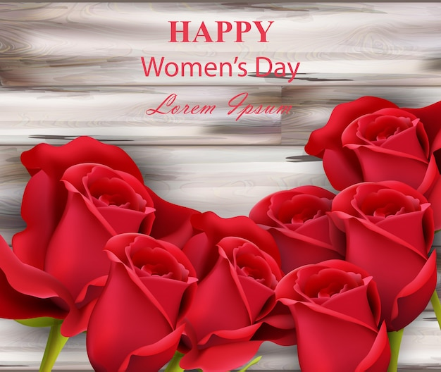 Cartão de rosas aquarela feliz dia das mulheres