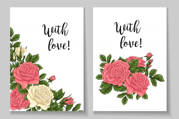 Cartão de rosas de coral. desenho à mão