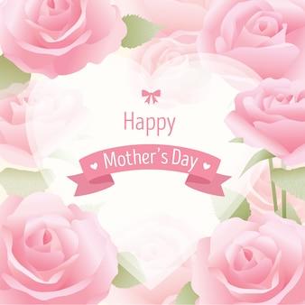 Cartão de rosas do dia das mães