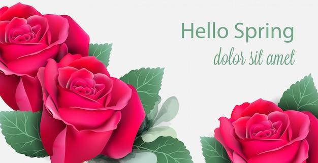 Cartão de rosas vermelhas