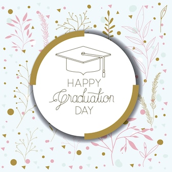 Cartão de rotulação da graduação com graduação do chapéu