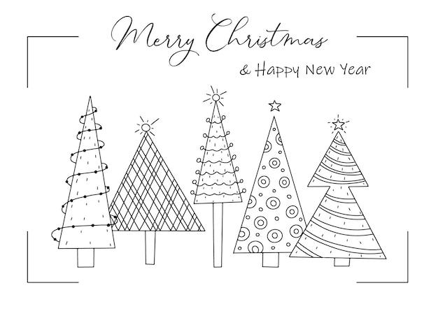 Cartão de saudação com árvores de natal decoradas com estilo