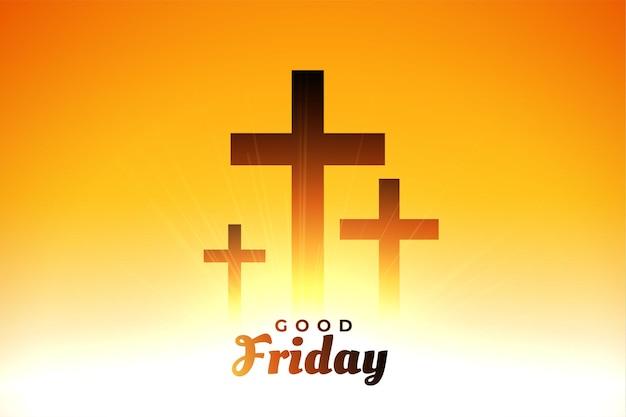 Cartão de saudação com cruzes brilhantes na sexta-feira santa