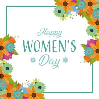 Cartão de saudação das mulheres felizes, quadro de dia com flores