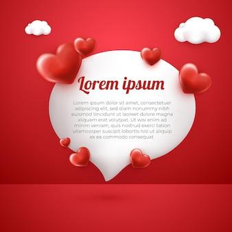 Cartão de saudação de amor e nuvem 3d com fundo vermelho modelo de mídia social feliz para o dia das mães