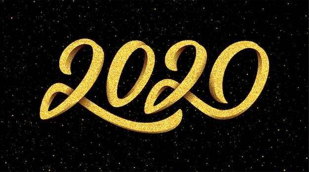 Cartão de saudação de ano novo 2020 com caligrafia