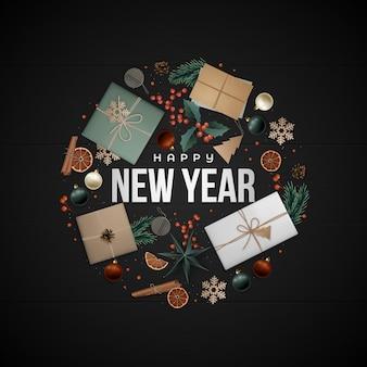 Cartão de saudação de ano novo composição plana
