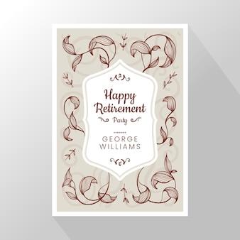 Cartão de saudação de aposentadoria desenhado à mão