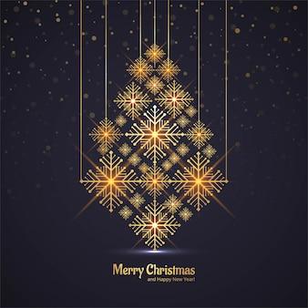 Cartão de saudação de árvore brilhante feliz Natal