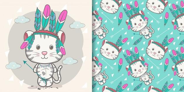 Cartão de saudação de bebê fofo gatinho com conjunto padrão
