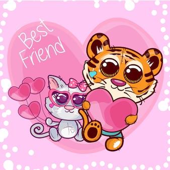 Cartão de saudação de chuveiro de bebê com desenho de tigre e gato bonito - vector