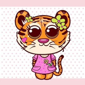 Cartão de saudação de chuveiro de bebê com menina de tigre bonito dos desenhos animados - vetor