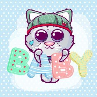Cartão de saudação de chuveiro de bebê com menino de gatinho bonito dos desenhos animados