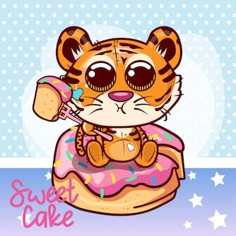 Cartão de saudação de chuveiro de bebê com menino de tigre bonito dos desenhos animados - vetor