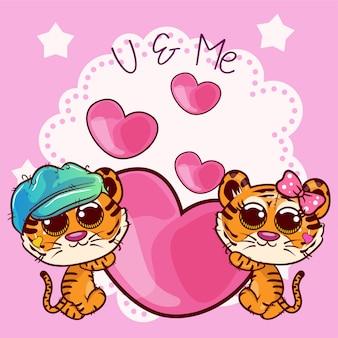 Cartão de saudação de chuveiro de bebê com menino de tigre e menina - vetor