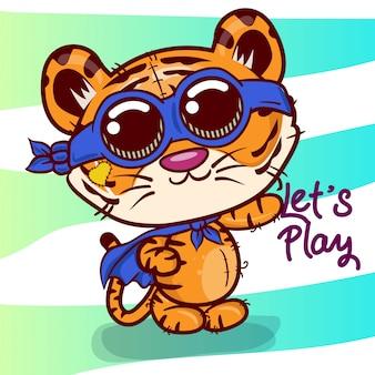 Cartão de saudação de chuveiro de bebê com tigre bonito dos desenhos animados - vetor