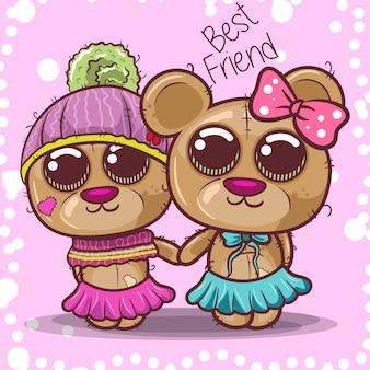 Cartão de saudação de chuveiro de bebê com urso menino e menina - vetor