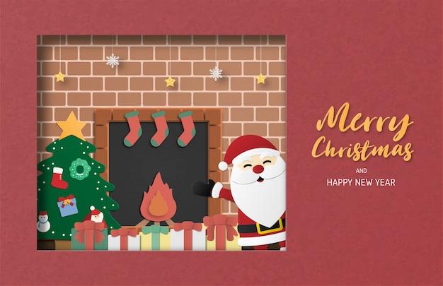 Cartão de saudação de comemoração de natal em papel cortado estilo. papai noel.