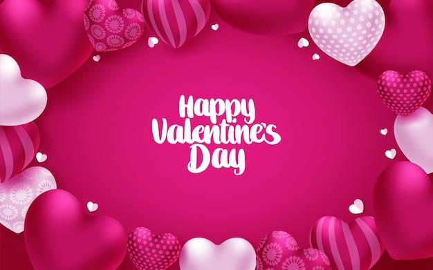 Cartão de saudação de corações de dia dos namorados. texto de feliz dia dos namorados com elementos de formato de coração rosa