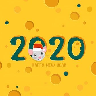 Cartão de saudação de feliz ano novo de 2020. fundo de queijo com rato de desenho animado.